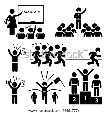 Top Student at School Best Outstanding Special Kid Stick Figure Pictogram Icons