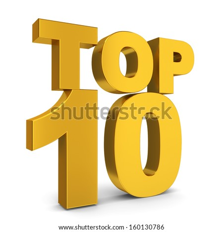 Top ten. 3d illustration on white background  - stock photo