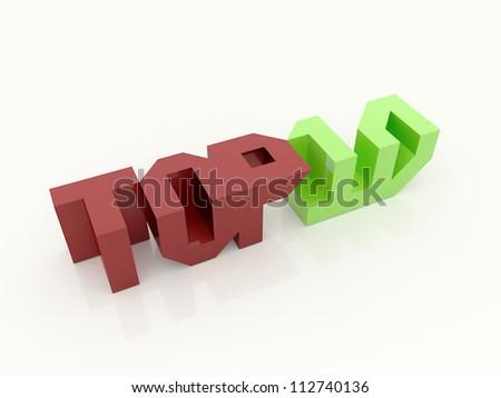 Top ten logo on white background - stock photo