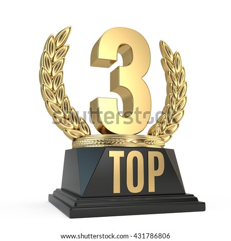 Top 3 three award cup symbol isolated on white background. 3d render - stock photo