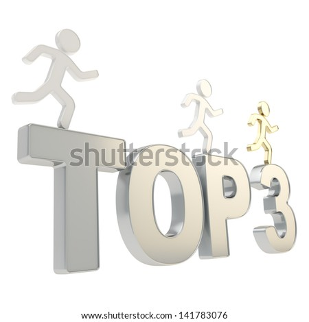 Top three leaders illustration: group of human symbolic figures running over the chrome metal Top-3 composition isolated on white background