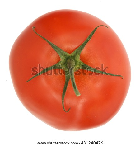 TOP TOMATO VIEW WITH STEM , ISOLATED ON WHITE  - stock photo