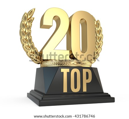 Top 20 twenty award cup symbol isolated on white background. 3d render - stock photo