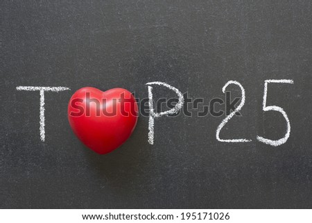 top twenty five phrase handwritten on chalkboard with heart symbol instead of O  - stock photo