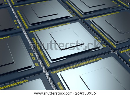 top up view of an array of CPUs (3d render) - stock photo