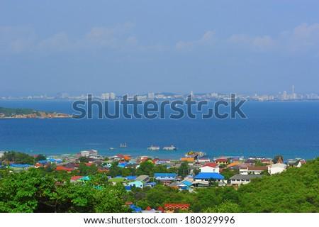 Top view at koh lan, pattaya, thailand - stock photo
