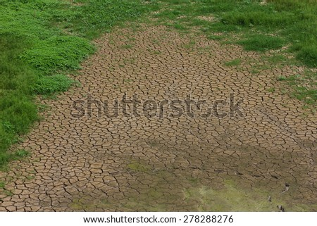 Top view background texture of dry, cracked earth with grass growing in patches. - stock photo