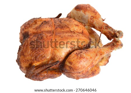 top view barbecue roast chicken - stock photo