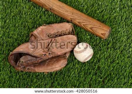 top view baseball bat glove and ball - stock photo