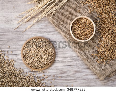 Top view - Beer ingredients, Pale ale and caramel malt on wooden background - stock photo