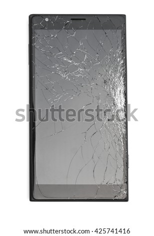 top view black smartphone with broken screen on white