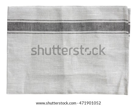 top view blank gray handkerchief (napkin), plate mat (napery), dish towel or tablecloth in the kitchen and restaurant for place object and food or background, on white isolated included clipping path