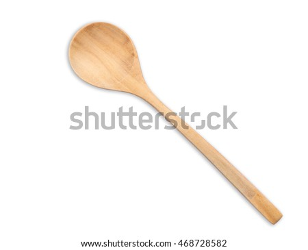 Top view bright wooden spoon isolated on white background. Saved with clipping path