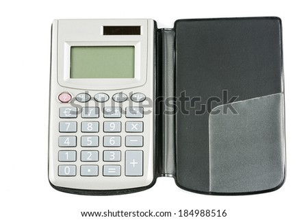 Top View Calculator isolate on a White Background - stock photo