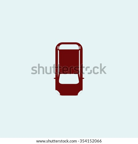 top view car Red flat icon. Simple illustration pictogram - stock photo