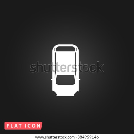 top view car White flat icon on dark background. Simple illustration pictogram - stock photo