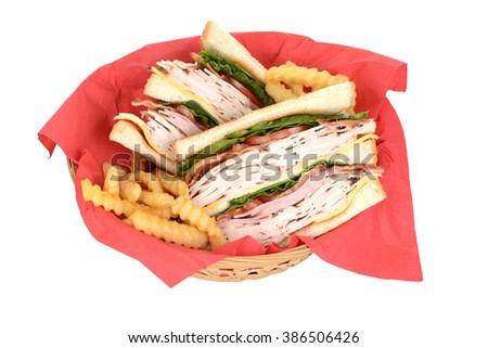 top view chicken club sandwich in basket - stock photo