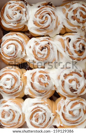 top view cinnamon buns - stock photo
