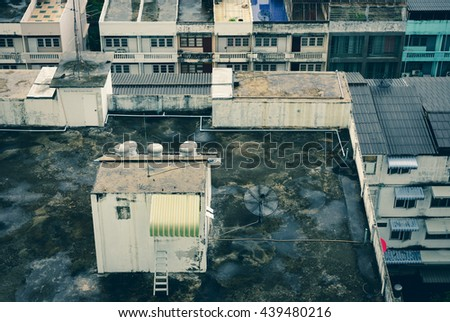 Top View Cityscape of Old Apartment Terrace After Raining