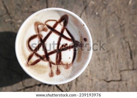 top view coffee cup  - stock photo