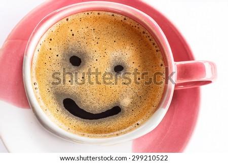 Top view coffee foam smile writing. - stock photo