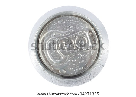Top view cold grey soda can - stock photo