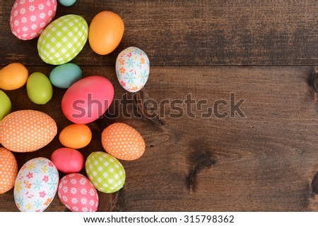 top view colorful Easter eggs - stock photo