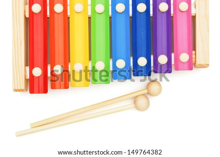 top view colorful xylophone on white with clipping pat - stock photo