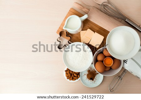 Top view cookie and bake ingredients - stock photo