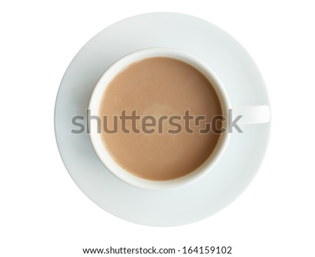 Top view cup of chocolate isolated on white background - stock photo