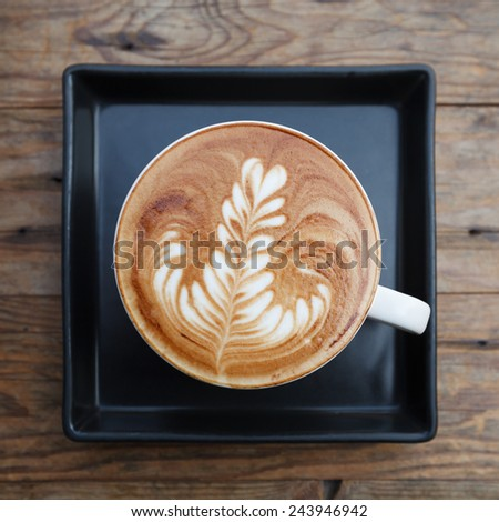 Top view cup of coffee mocha on wooden  - stock photo