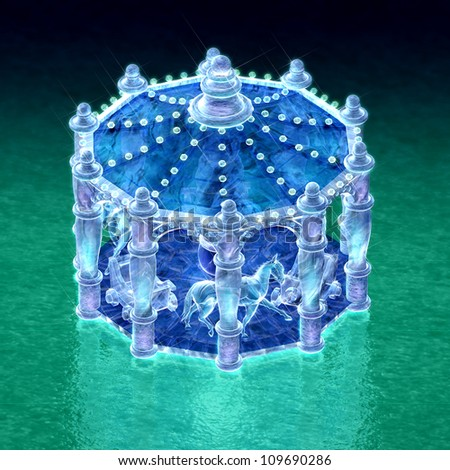 top view 3d rendering for merry-go-round of ice sculpture with concise background - stock photo