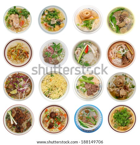 Top view: 16 different noodle soups in favoring asia food - stock photo