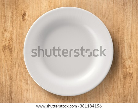top view empty dish on wooden background - stock photo