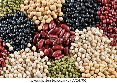Top view five legumes  for background