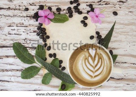 Top view, Flat lay styled of blank vintage paper, a cup of coffee with latte art and fresh breads on breakfast table in the morning. Designed advertising , blogger ,quote with copy space for your text - stock photo