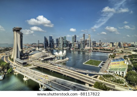 Top view from singapore flyer in day time, HDR photo