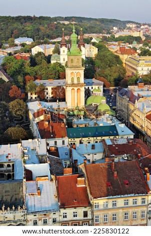 Top view from the City Tower, Lviv, Ukraine - stock photo