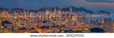 Top view from The lion rock park, sunset onver Kowloon and Hong kong sky. - stock photo