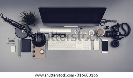 top view hero header office desk - stock photo