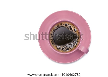 Top view image of coffee in pink cup isolated on white background with clipping path.