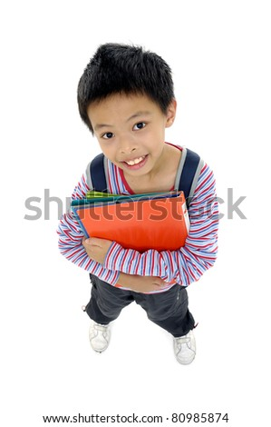 Top view little boy ready to school - stock photo