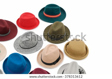 Top view many woman hat  - stock photo