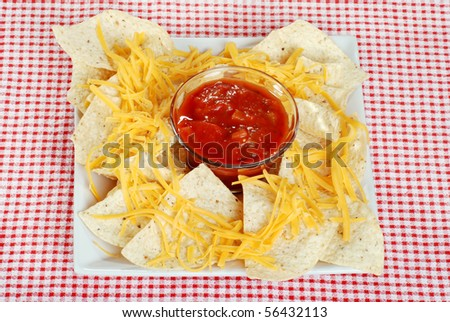 top view nachos and cheese