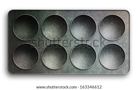 Top view of a baking tray with shallow bowls isolated on white for use in layouts and illustrations - stock photo