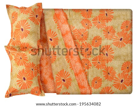 Top view of a bed isolated against white background. - stock photo
