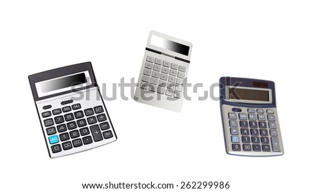 Top view of a calculators isolated - stock photo