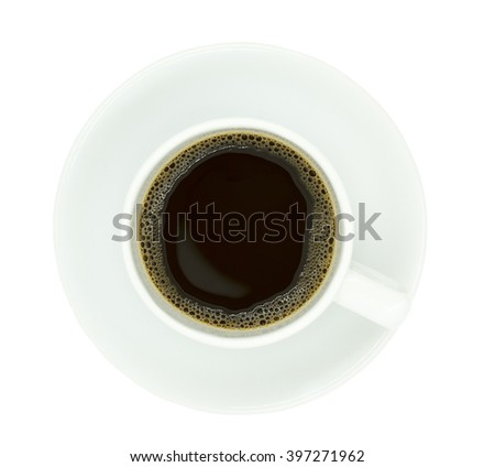 Top view of a coffee cup, isolate on white background. - stock photo