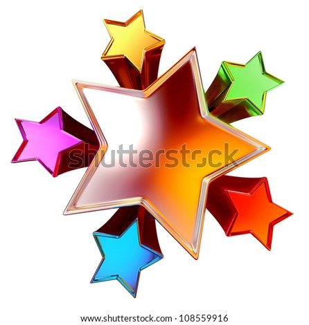top view of a colorful shining stars in the motion - stock photo