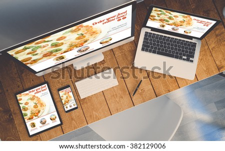 top view of a computer, laptop, smartphone and tablet on a desktop workspace. Order online responsive website on screen. 3d Illustration. All screen graphics are made up. - stock photo